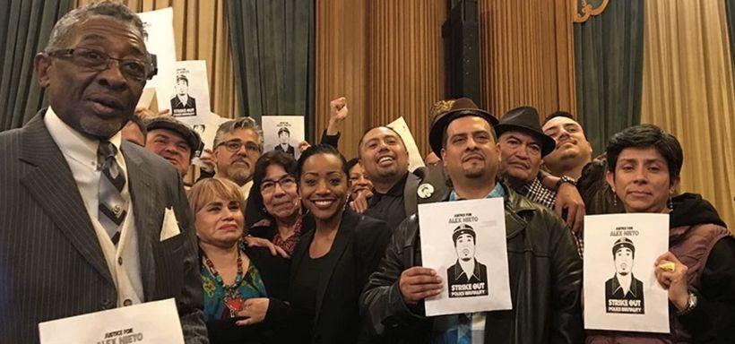 Alex Nieto's parents Refugio and Elvira Justice 4 Alex Nieto and Justice 4 Mario Woods Coalitions celebrate 9-1 decision by S