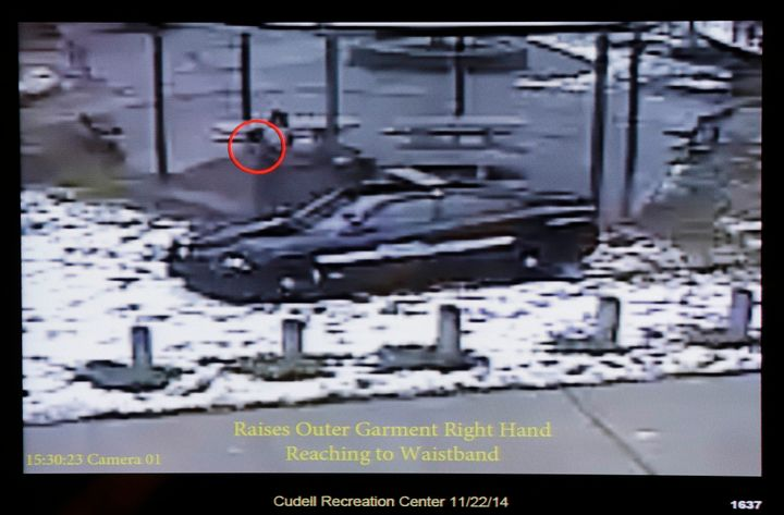 This still image taken from a surveillance video played at a news conference held by Cleveland Police, Wednesday, Nov. 26, 20