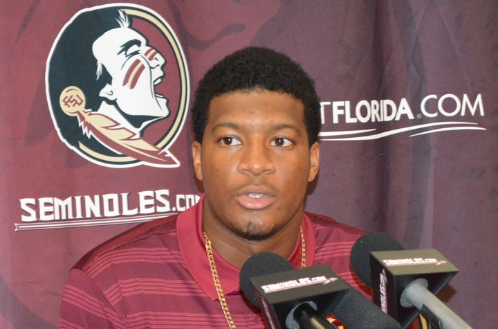 Florida State University (FSU) quarterback Jameis Winston comments about his half-game suspension during a news conference in