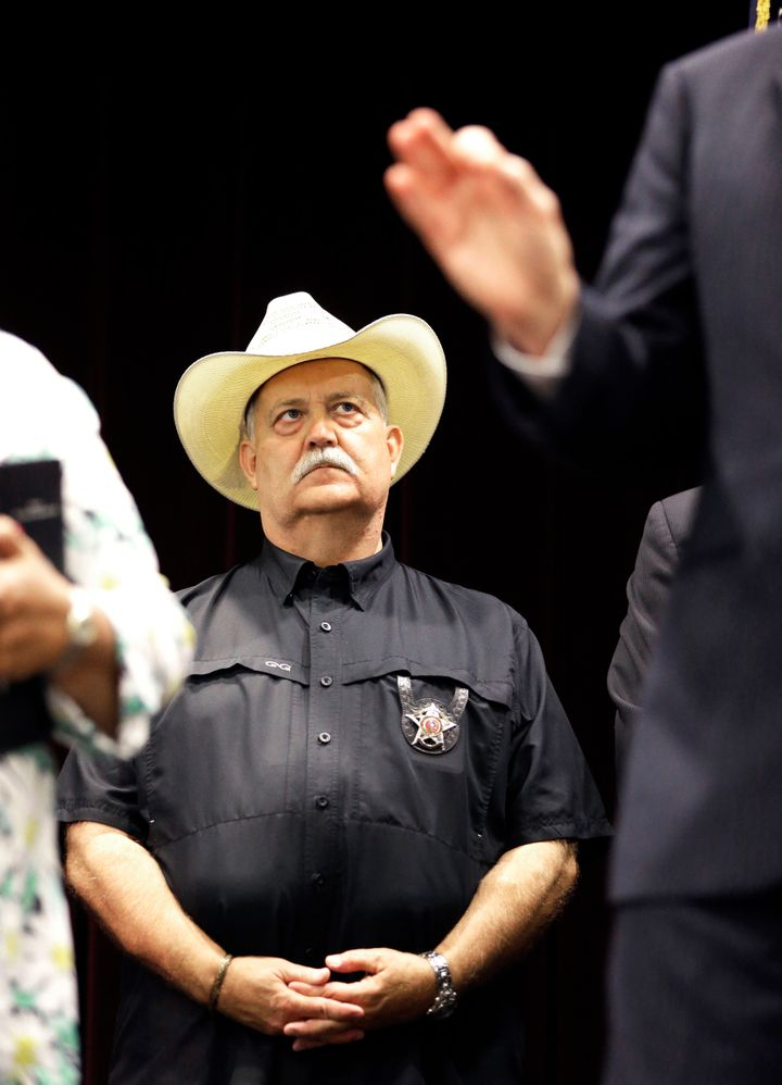 Waller County Sheriff Glenn Smith listens during a news conference, Tuesday, July 21, 2015, in Prairie View, Texas, following