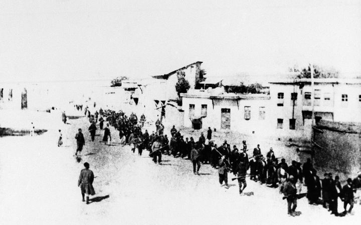In this 1915 file photo, Armenians marched long distances and said to have been massacred in Turkey