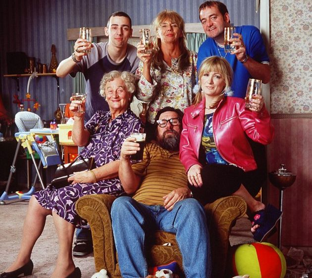 Liz with her 'Royle Family' co-stars, including show creator Caroline Aherne, who died earlier this