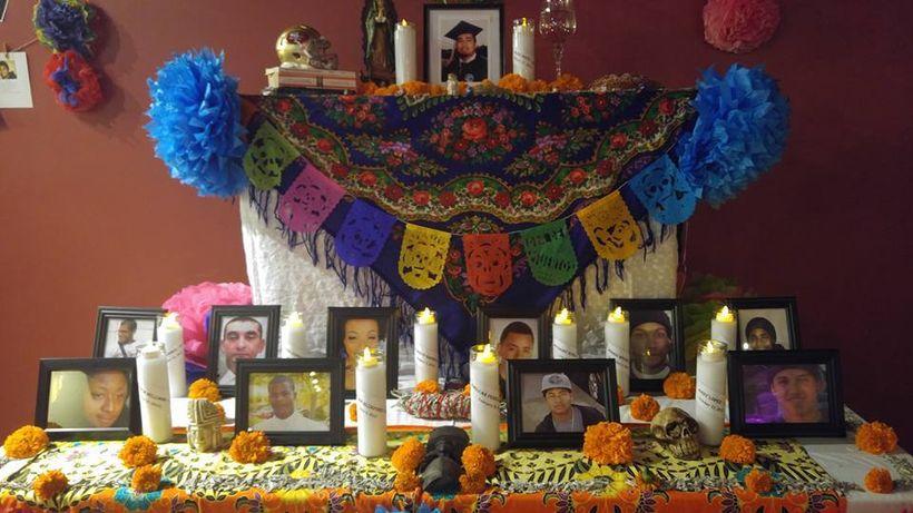 Dia de los Muertos altar to Bay Area victims of police brutality, Brava Theater, San Francisco, October 30, 2016