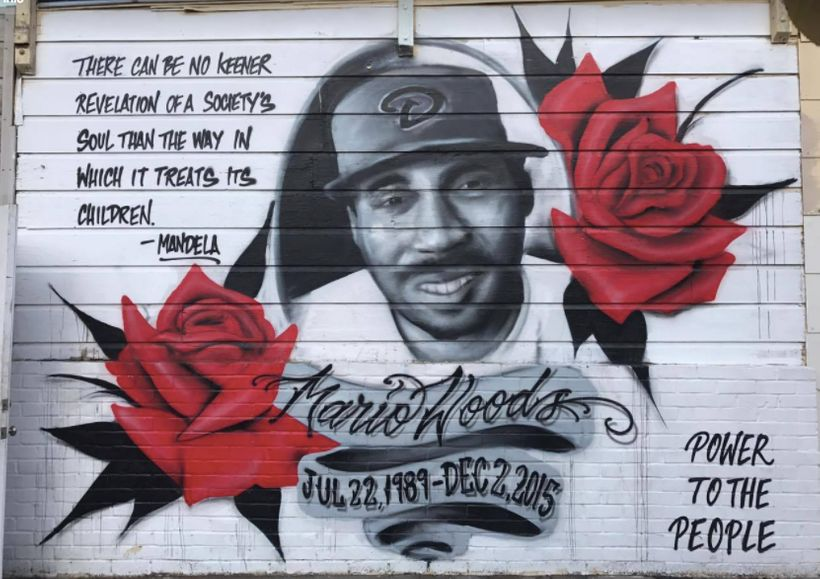 Mario Woods mural at 3rd Street and Oakdale, Bayview, San Francisco
