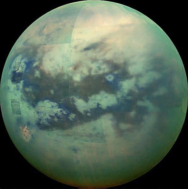 Composite image infrared view of Saturn's moon, Titan, taken by NASA's Cassini spacecraft on Nov. 13, 2005.