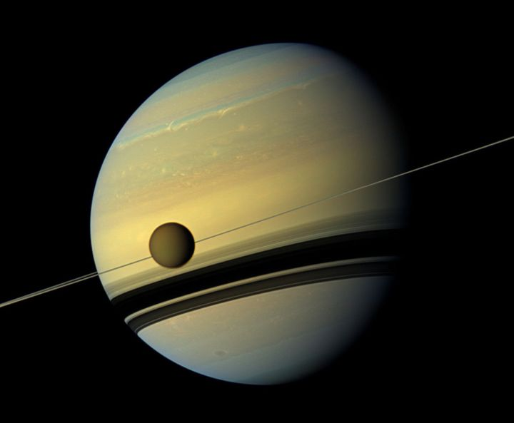 NASA's Cassini spacecraft created this six-image mosaic of Saturn, its rings and the giant moon Titan. The pictures wer
