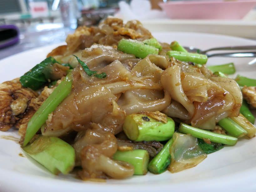 Pad See Ew Gai (large noodles stir fried with chicken and eggs)