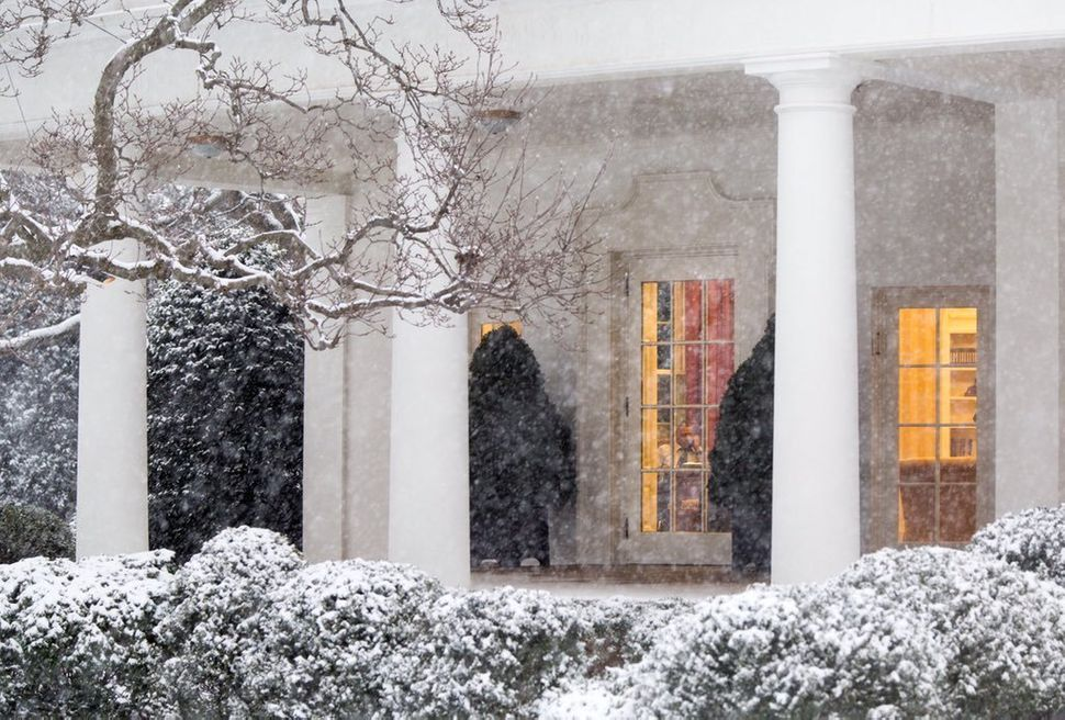 In the midst of a snowstorm, Obama works at his desk in the Oval Office on Jan. 22.