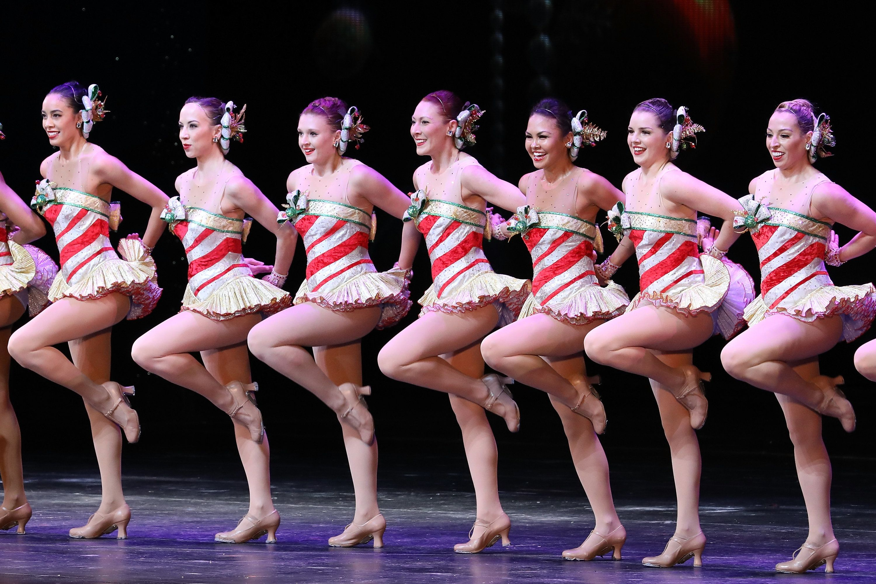 The Rockettes perform on stage on November 15, 2016.