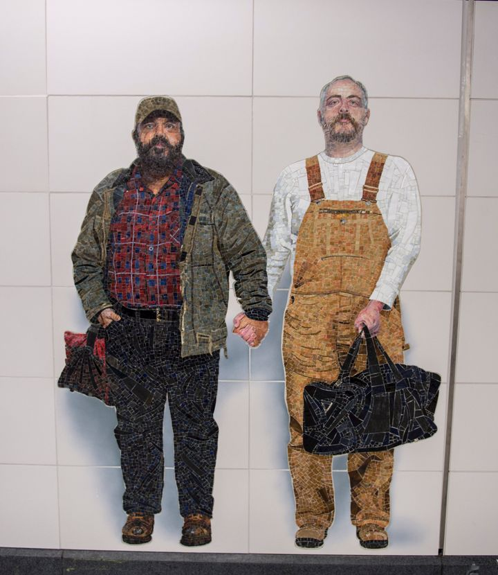 "Thor Stockman, left, and husband Patrick Kellogg posed for the photograph on which ""Perfect Strangers"" is based three years a"
