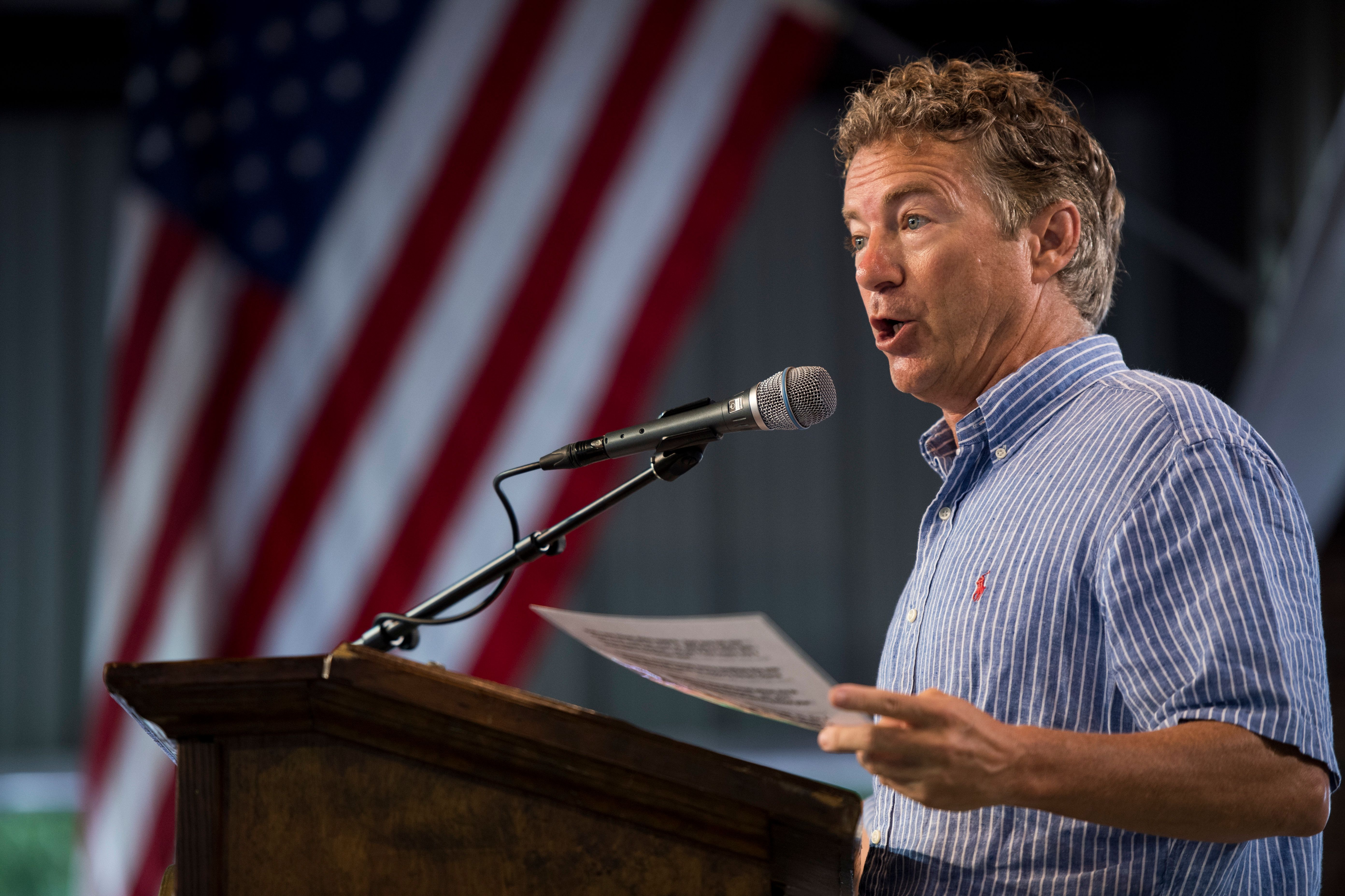 UNITED STATES - AUGUST 6: Sen. Rand Paul (R-KY) speaks at the annual Fancy Farm Picnic in Fancy Farm, Ky., on Saturday, Aug. 6, 2016. (Photo By Bill Clark/CQ Roll Call)