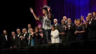 Rep. Frederica Wilson (D-FL) waves while being introduced with other African American members of the US Congress during the Congressional Black Caucus Foundation's Phoenix Awards Dinner on September 17, 2016 in Washington, DC. / AFP / Brendan Smialowski        (Photo credit should read BRENDAN SMIALOWSKI/AFP/Getty Images)
