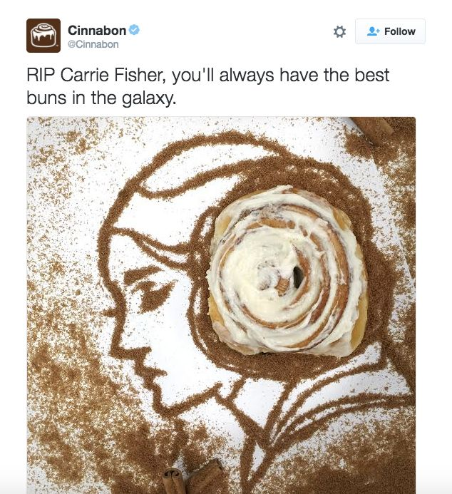 Cinnabon released this tweet hours after Carrie Fisher's death. It was deleted 45 minutes later.
