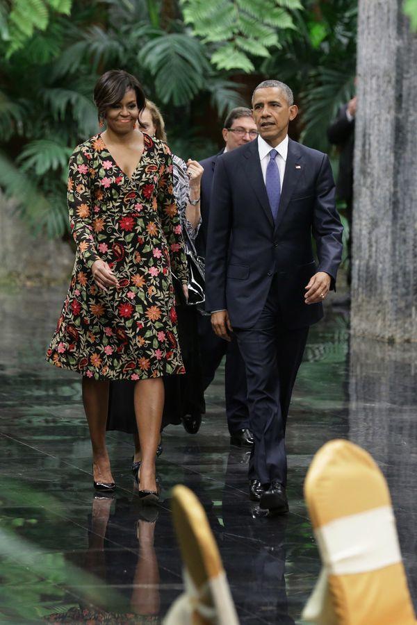 "<a href=""http://www.huffingtonpost.com/entry/michelle-obama-dress-cuba_us_56f131a5e4b09bf44a9e4d8d"">Wearing Naeem Khan</a> at"