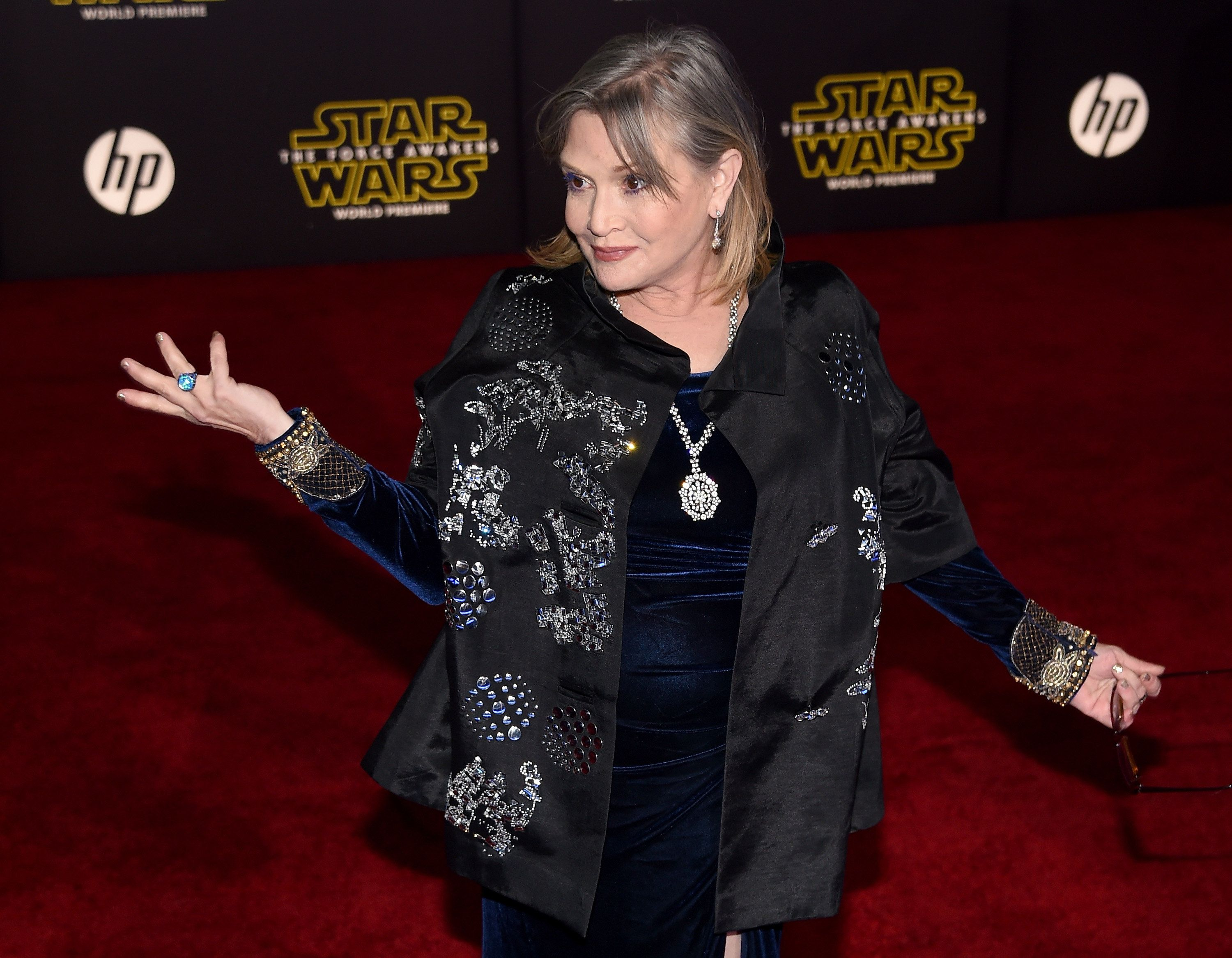 HOLLYWOOD, CA - DECEMBER 14:  Actress Carrie Fisher attends the premiere of Walt Disney Pictures and Lucasfilm's 'Star Wars: The Force Awakens' at the Dolby Theatre on December 14, 2015 in Hollywood, California.  (Photo by Ethan Miller/Getty Images)
