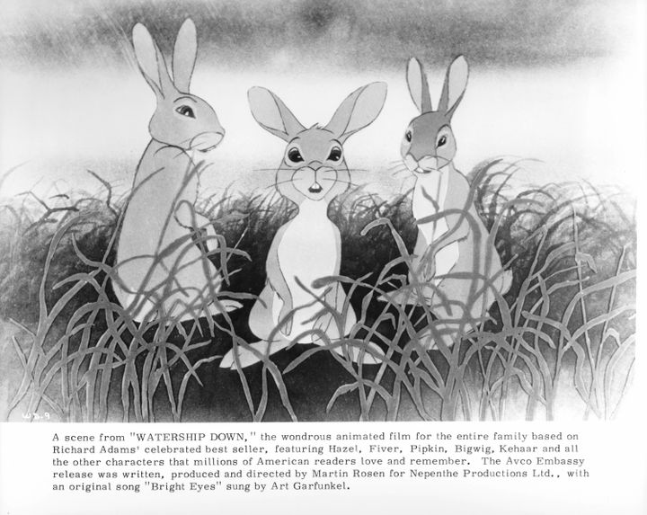 "Three rabbits in a scene from the 1978 film ""Watership Down."""