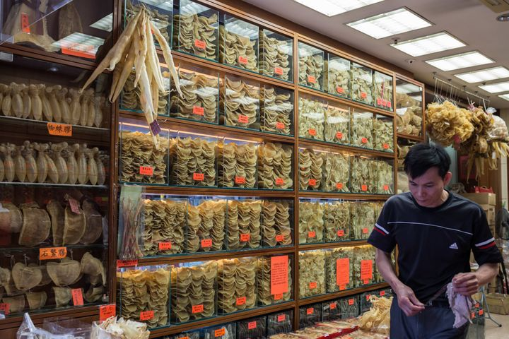 The dried maws of the critically endangered totoaba fish, like those pictured with shark fins in Hong Kong, sell for tho