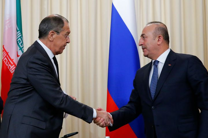 Foreign ministers, Sergei Lavrov, left, of Russia, and Mevlut Cavusoglu, right, of Turkeyhave reportedly agreed on a pr
