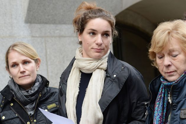 Nadja Ensink (centre) speaks alongside her mother (right) outside the Old Bailey in