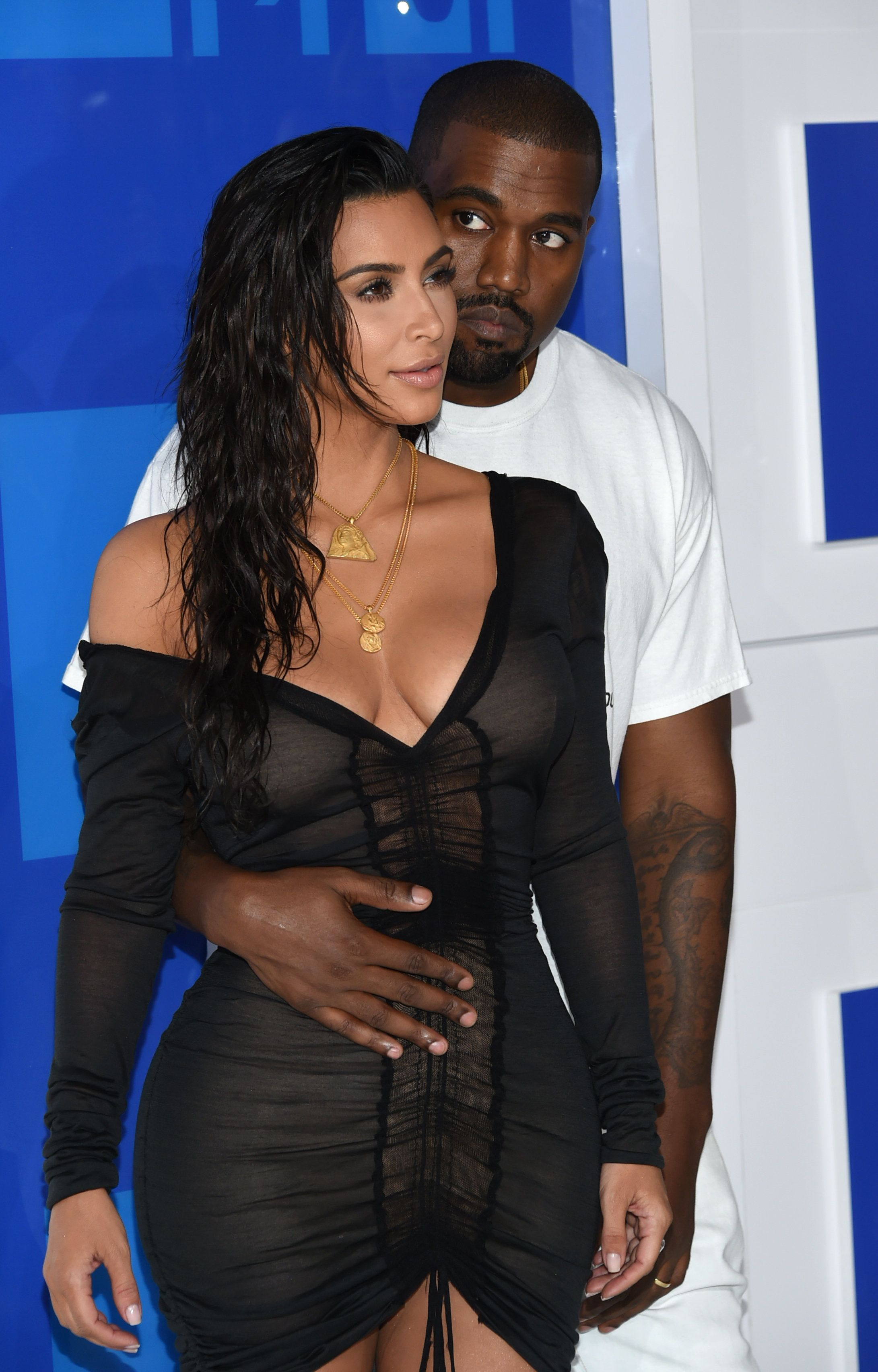 Kim and Kanye at the MTV Video Music Awards in the