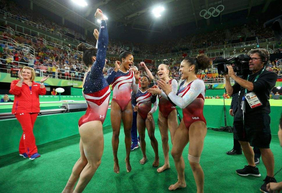 (L-R) Alexandra Raisman (USA) of USA (Aly Raisman), Gabrielle Douglas (USA) of USA (Gabby Douglas), Simone Biles (USA) of USA