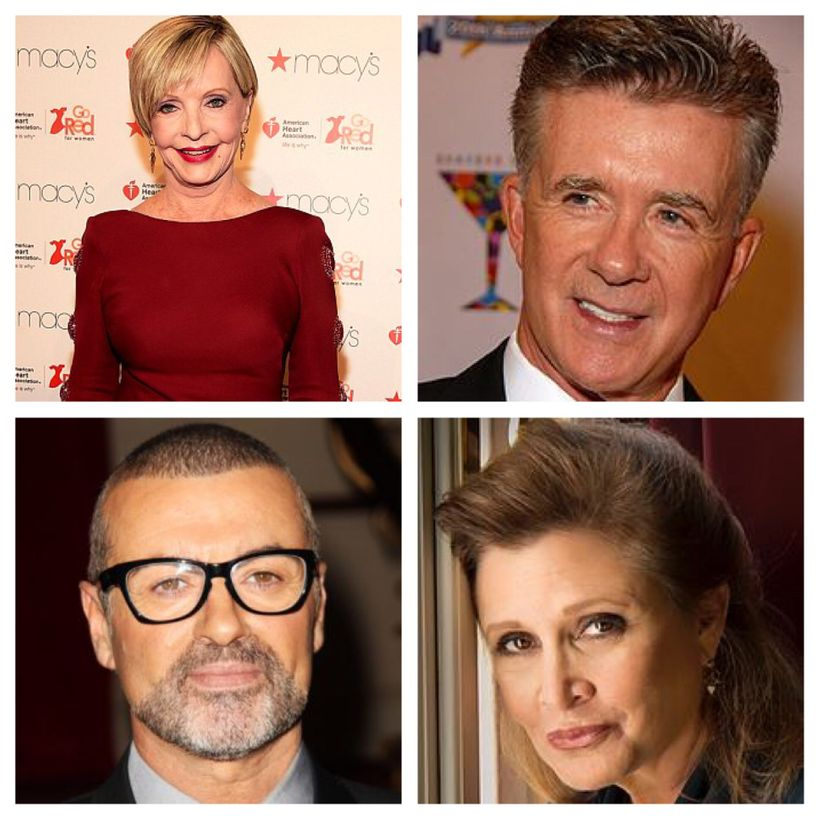 Clockwise from top left: Florence Henderson, Alan Thicke, Carrie Fisher and George Michael