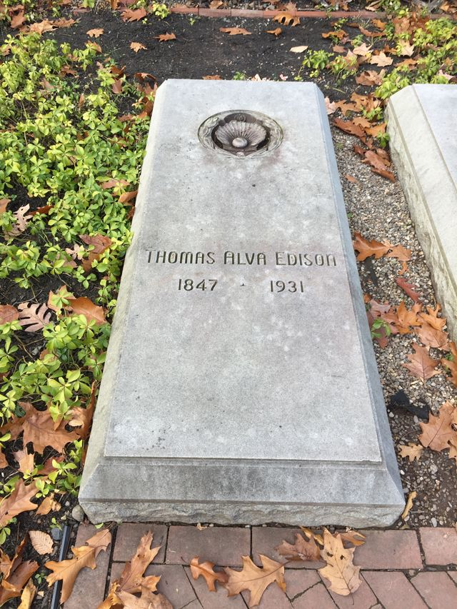 Edison's burial place behind his home in West Orange, New Jersey. He has yet to communicate from there.