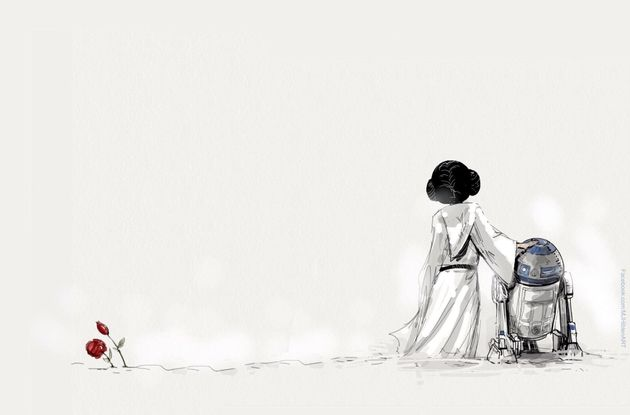 "A simple but touching tribute by MJ Hiblen to Carrie Fisher, who played Princess Leia in the ""Star..."