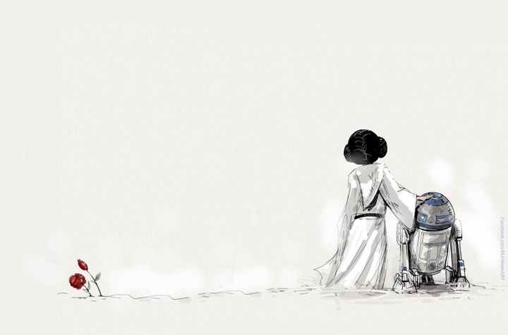 "A simple but touching tribute by MJ Hiblen to Carrie Fisher, who played Princess Leia in the ""Star Wars"" films, a"