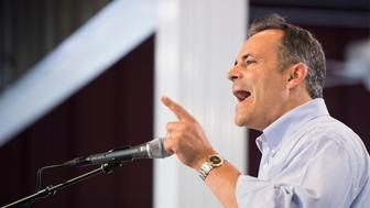 UNITED STATES - AUGUST 6: Kentucky Gov. Matt Bevin speaks at the annual Fancy Farm Picnic in Fancy Farm, Ky., on Saturday, Aug. 6, 2016. (Photo By Bill Clark/CQ Roll Call)