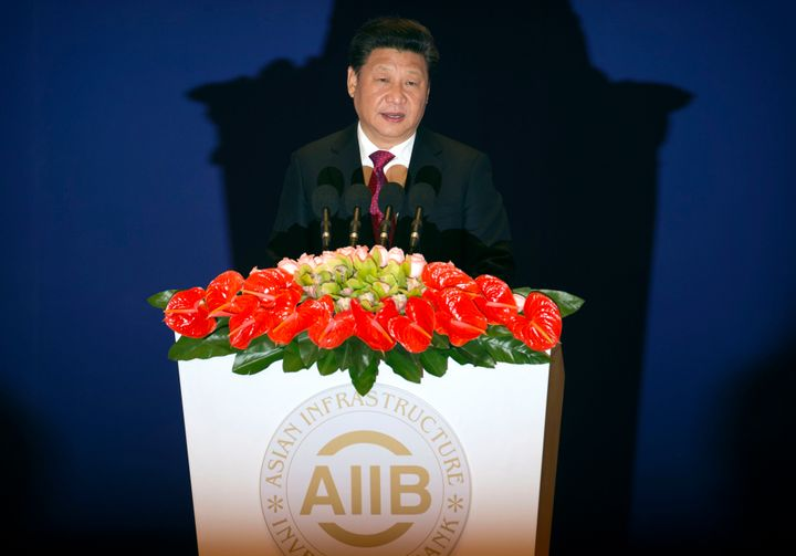 Chinese President Xi Jinping speaks during the opening ceremony of the Asian Infrastructure Investment Bank in Beijing on Jan
