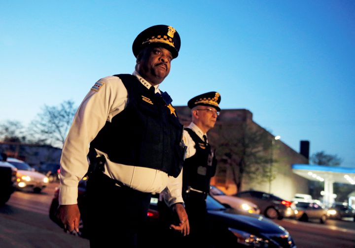 Chicago Police Superintendent Eddie Johnson (L) and First Deputy Superintendent John Escalante arrive to speak to the media a