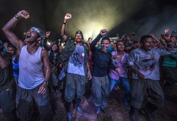 FARC guerrillas dance during an event at their encampment in Llanos del Yari, Colombia, on Sept. 21.