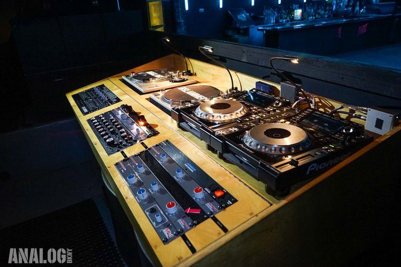 <em>Side-view of DJ booth</em>