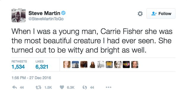 Steve Martin Deletes Carrie Fisher Tribute After