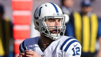 OAKLAND, CA - DECEMBER 24: Indianapolis Colts quarterback Andrew Luck during an NFL game against the Oakland Raiders on December 24, 2016, at the Oakland Coliseum in Oakland, CA. The Raiders won 33-25. (Photo by Daniel Gluskoter/Icon Sportswire via Getty Images)
