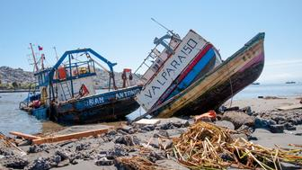 This boat expelled for tsunami, the name is San Antonio and Valparaiso, located 550 km from the port city of Coquimbo Coquimbo, Chile, on 22 september 2015. (Photo by Sebastian Ramos/NurPhoto) (Photo by NurPhoto/NurPhoto via Getty Images)