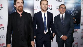 """Cast members (L-R) Christian Bale, Ryan Gosling and Steve Carell pose at the premiere of """"The Big Short"""" during the closing night of AFI Fest 2015 in Hollywood, California November 12, 2015. The movie opens in the U.S. on December 23.  REUTERS/Mario Anzuoni"""