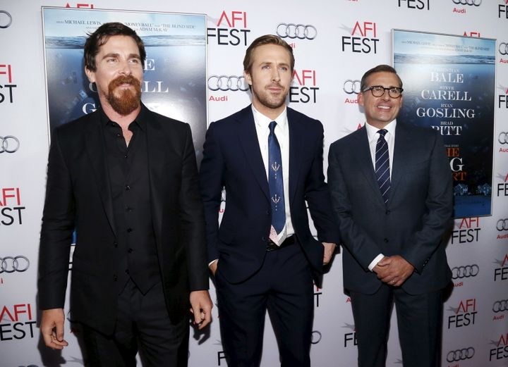 "Actors Christian Bale, Ryan Gosling and Steve Carell pose at the premiere of ""The Big Short"" during the closing night of AFI"