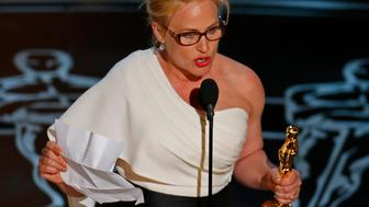 "Patricia Arquette speaks after winning the Oscar for Best Supporting Actress for her role in ""Boyhood""  at the 87th Academy Awards in Hollywood, California February 22, 2015.  REUTERS/Mike Blake (UNITED STATES TAGS:ENTERTAINMENT) (OSCARS-SHOW)"