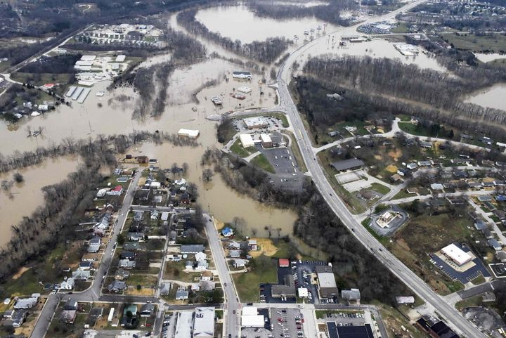 Submerged roads and houses are seen after several days of heavy rain led to flooding, in an aerial view over Union, Missouri,