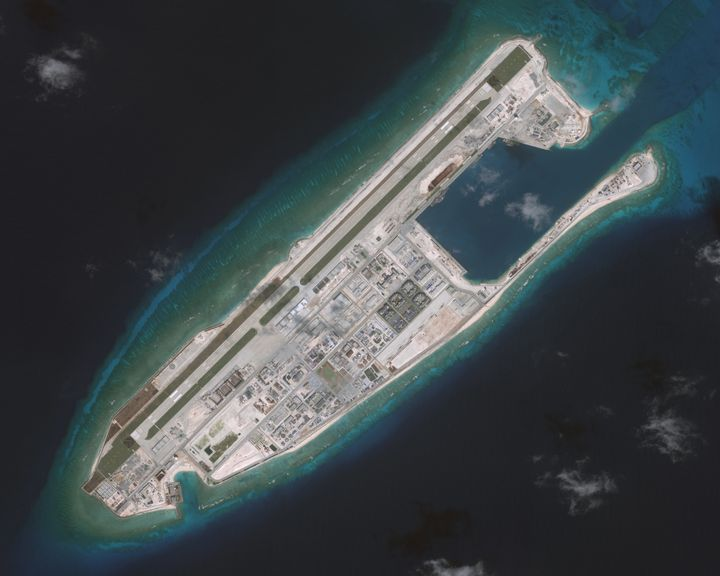A photograph of anisland that China is building on the Fiery Cross Reef in the South China Sea, presented during a Sena
