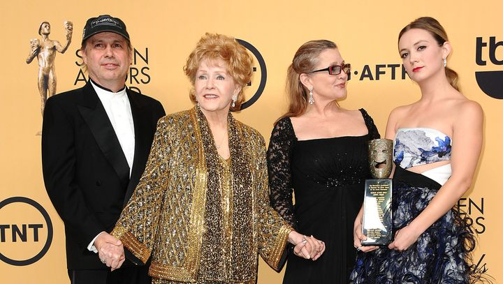 Todd Fisher, with to his mother, Debbie Reynolds, sister Carrie Fisher and niece Billie Lourd at the Screen Actors Guild Awar