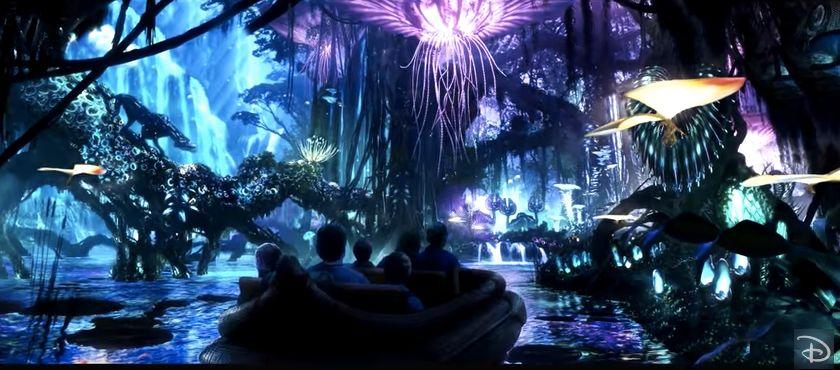 A glimpse of Pandora's river ride through a bioluminescent