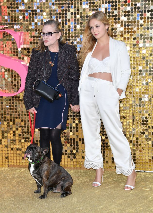 Carrie Fisher and Billie Lourd with Gary on the red