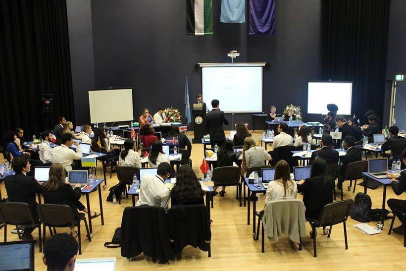 VISSMUN delegates debating Arctic land and resource disputes.