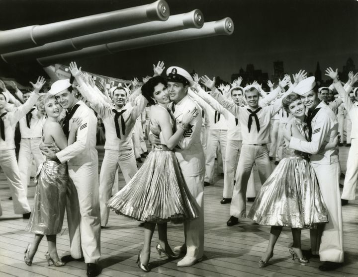 Publicity still of American actors, foreground from left, Jane Powell and Vic Damone, Ann Miller andTony Martin, and De