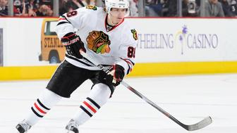 COLUMBUS, OH - MARCH 25:  Forward Patrick Kane #88 of the Chicago Blackhawks skates with the puck against the Columbus Blue Jackets on March 25, 2010 at Nationwide Arena in Columbus, Ohio.  (Photo by Jamie Sabau/NHLI via Getty Images)