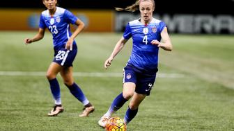 December 16 - United States of America defender Becky Sauerbrunn (4) during the Women's National Team Final Victory Tour match between the U.S. Women's National Team and China PR at Mercedes-Benz Superdome in New Orleans, LA. China defeated United States of America 1-0. (Photo Stephen Lew/Icon Sportswire) (Photo by Stephen Lew/Icon Sportswire/Corbis via Getty Images)
