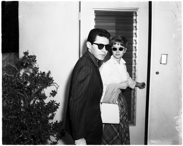 Eddie Fisher and Debbie Reynolds are seen at Elizabeth Taylor's home after Michael Todd's death.